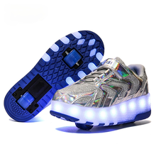 Kids Boys USB Charged Growing LED Roller Skate Shoes Luminous Wheels Sneakers for Children Girls Double Wheels Shoes Size 28-41