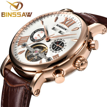 BINSSAW Men Automatic Mechanical Watch Tourbillon Leather Fashion & Casual Luxury Brand Week Self-Wind Watches relogio masculino