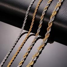316L нержавеющая сталь Веревка Цепи для мужчин цепочки и ожерелья Цвет серебристый, золотой не выцветает аллергия 20 дюймов до 24 дюймов