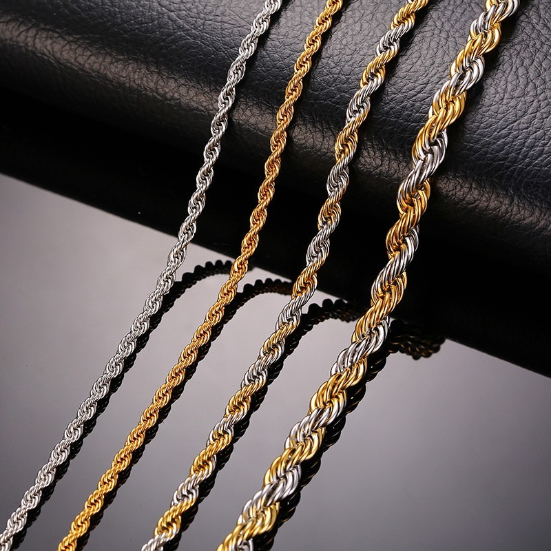 316L Stainless Steel Rope Chains Men Necklace silver color Gold Color No Fade Free Allergic 20inch To 24inch