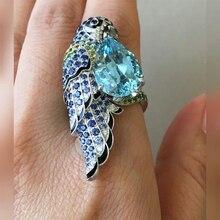 Trendy Blue Crystal Peacock Bird Rings for Women Fashion Animal Jewelry Filled Teardrop Sky Zircon Accessories