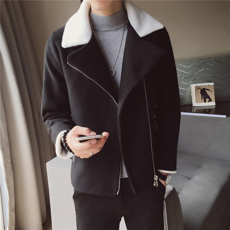 Abrigos Hombre Invierno 2019 Winter Warm Wool Coat Korean Slim Fit Woolen Jacket Men Trend Green Black Coat Men Casaco Masculino