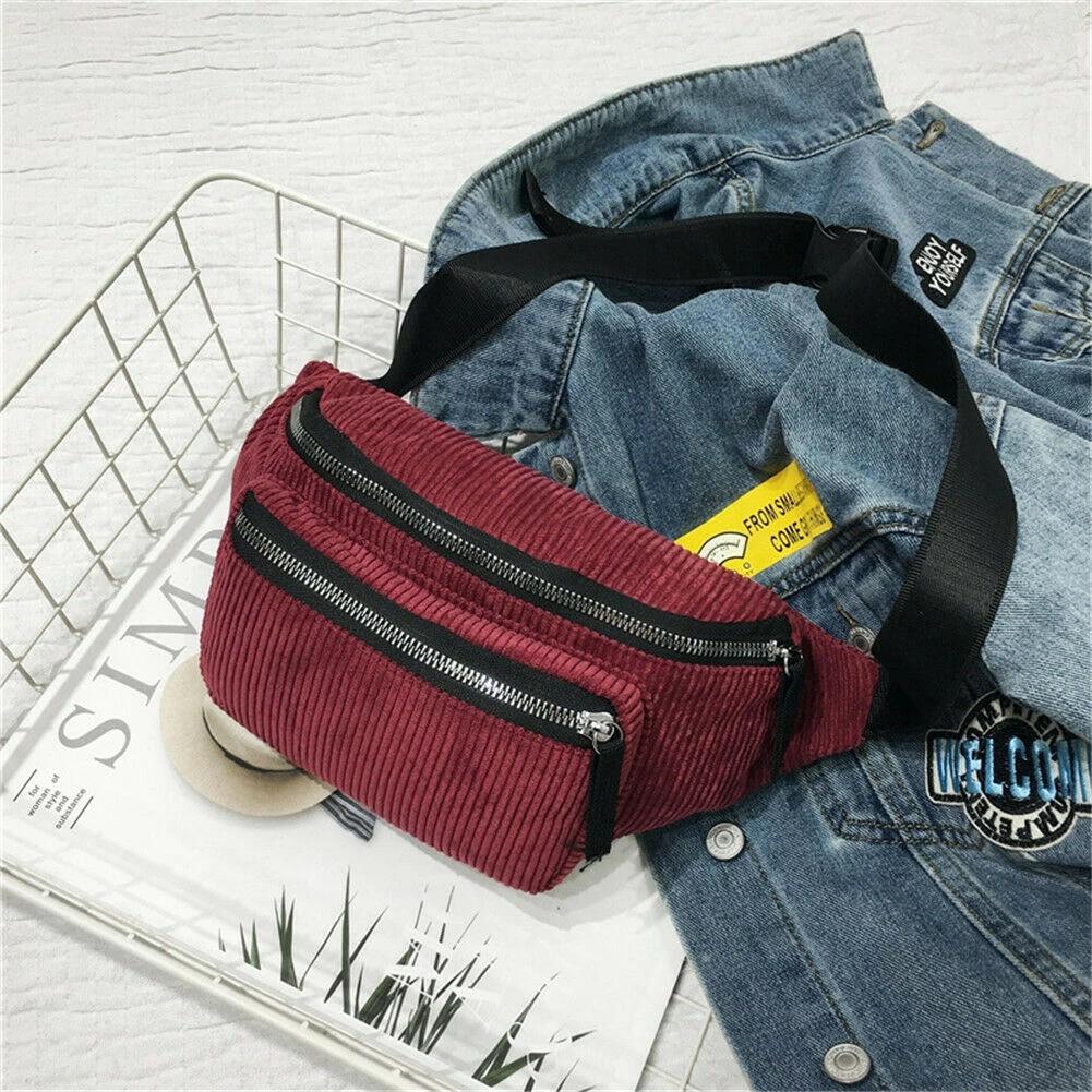 Corduroy Women Waist Fanny Pack Belt Chest Messenger Satchel Shoulder Bag lOT