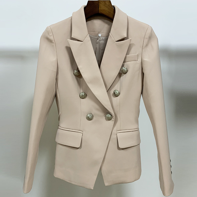 HIGH QUALITY New Fashion 2020 Designer Blazer Jacket Women's Metal Lion Buttons Double Breasted Blazer Outer Coat Size S-XXL