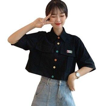 Women's ShirtHarajuku Short Sleeve Polo Collar Casual Cotton Preppy Top Girls Fashion Letter Embroidery Blusas Femininas 2
