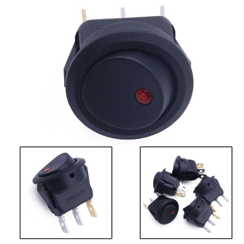 4Pcs Small Round Boat Rocker Dot Boat Light Toggle Switches Car 3 Pin DC12V Waterproof ON-OFF Rocker Switch