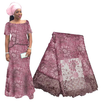 2019 Latest African Lace Fabric High Quality French Flowers Beaded Embroidery Tulle For Wedding