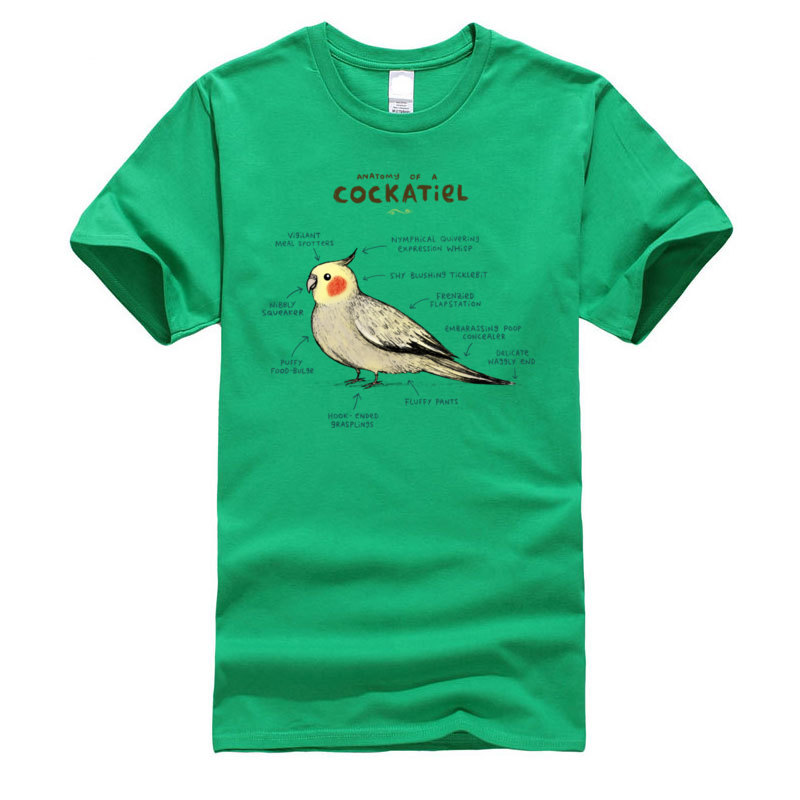 Cotton Young Short Sleeve Anatomy_of_a_Cockatiel_140 T-Shirt Custom Tops Shirts Hot Sale Casual Round Collar Sweatshirts Anatomy_of_a_Cockatiel_140 green