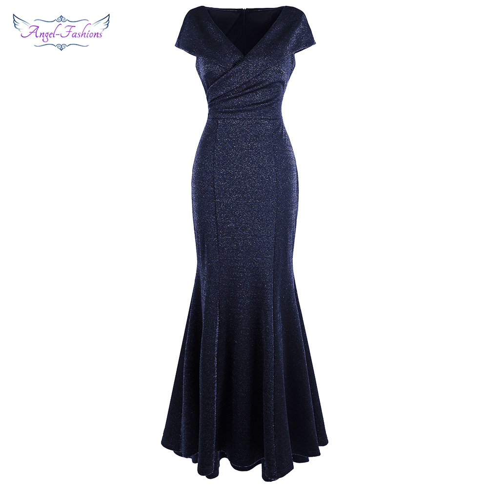 Angel-fashions Evening Dress V Neck Cap Sleeves Pleated Shiny Long Mermaid Elegant Women Party Dresses Navy Blue 481