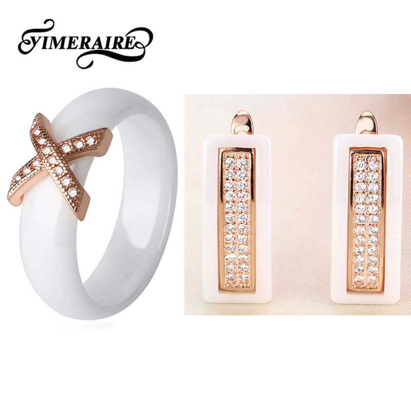2018 Rose Gold Ceramic Jewelry Set Crystal Letter X 6MM Rings Rectangle U Shaped Earrings For Women Elegant Healthy Jewelry Gift