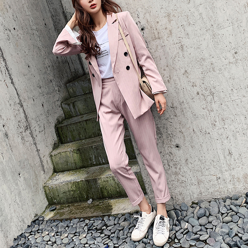 Casual Double-breasted Striped Women Blazer Suit Set Long Sleeve Women Pant Suits Office Ladies 2 Pieces Set Female Trouser Suit