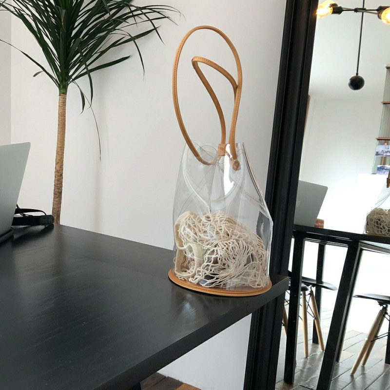 Summer Transparent PVC Bucket Bag For Women Handbag  Korean Style Beach Bag Sac A Main Femme Shoulder Bags