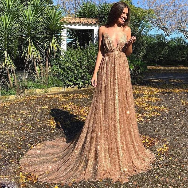 SoDigne Glitter Sequined Prom Dresses Sexy Backless Shiny Formal Evening Dresses Celebrity Party Dress sukienki wizytowe