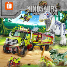 Tyrannosaurus Velociraptor Off-road araç dinozorlar rakamlar Jurass yapı taşları dinozorlar oyuncaklar Jurassiced dünya