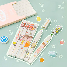 Marker-Pen-Set Mohamm Stationery Stickers Highlighter 6pcs with Student Creative