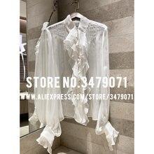 Шелковая блузка белая весна лето женская элегантная Ретро блузка гофрированная плиссированная рубашка рукав-фонарик новая сексуальная перспективная рубашка