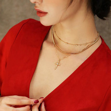 Women Bohemian Retro Round Cross Pendant Gold Clavicle Chain Personality Multilayer Necklace Set 2019 Fashion Birthday Gift