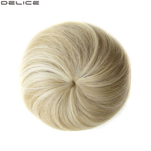 Delice Womens  Synthetic Straight Donut Chignon Elastic Rubber Band Drawstring Clip In Hair Buns Hairpieces