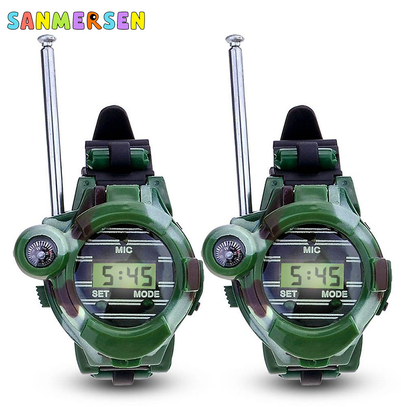 2pcs Walkie Talkies Watches Toys For Children 7 In 1 Camouflage 2 Way Radios Mini Walky Talky Interphone Clock Kids Outdoor Toy