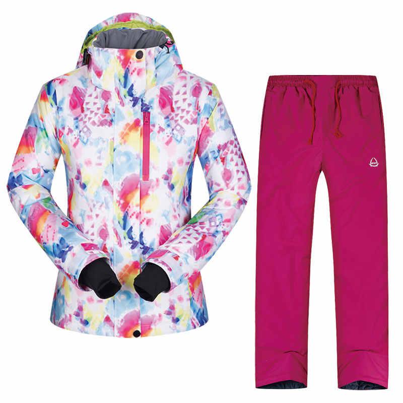 Wanita Ski Jaket dan Celana Tahan Angin Tahan Air Bernapas Wram Pakaian Ski Ski Mantel Memakai Salju Musim Dingin Wanita Snowboard Jaket