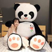 Sıcak 60cm/80/100CM sevimli büyük Panda bebek peluş oyuncak hayvanlar yastık çocuklar doğum günü yılbaşı hediyeleri karikatür oyuncaklar büyük yastık yatak