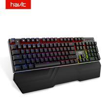 لوحة مفاتيح هافيت الميكانيكية 87/104 مفتاح أزرق أو أحمر لوحة مفاتيح للألعاب للوحة سطح المكتب ملصق روسي/أمريكي