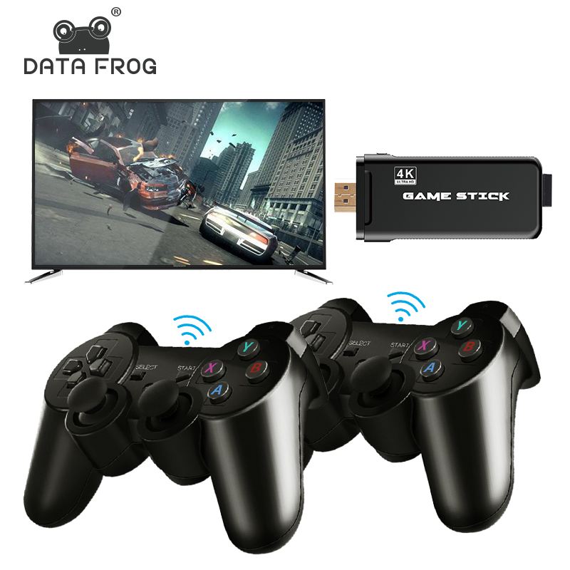 DATA FROG 4K HD Video Game Console 2 4G Double Wireless Controller For PS1 GBA Classic Retro TV Game Console 64GB 10000 Games