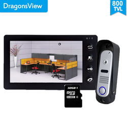 Dragonsview 7 pulgadas Video intercomunicador puerta teléfono timbre C intercomunicador función de grabación
