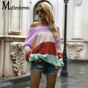 2020 Autumn New Women's Casual Lantern Sleeve Sweater Stripe Spell Color Off The Shoulder Sweater Women's Tops Women Sweater lace applique lantern sleeve cold shoulder top