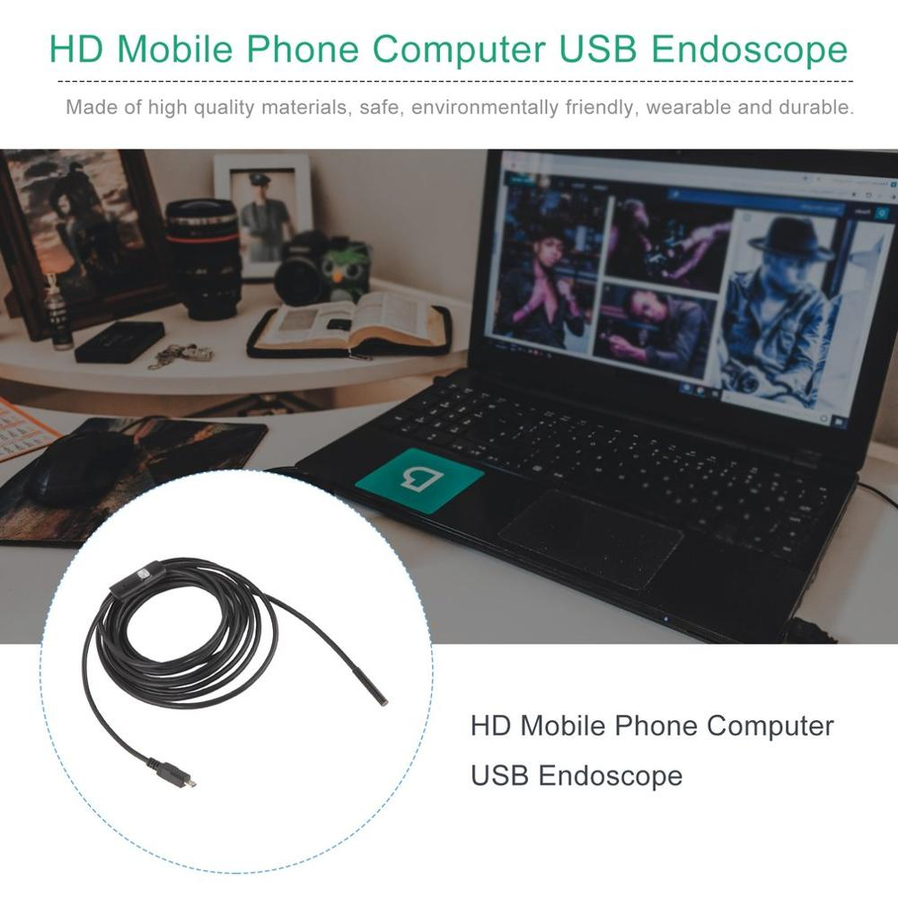 5.5mm Lens 1M/1.5M/2M/3.5/5M/10MCable USB Endoscope 6LED Waterproof Mini USB Inspection Car Endoscope For Android Phones PC