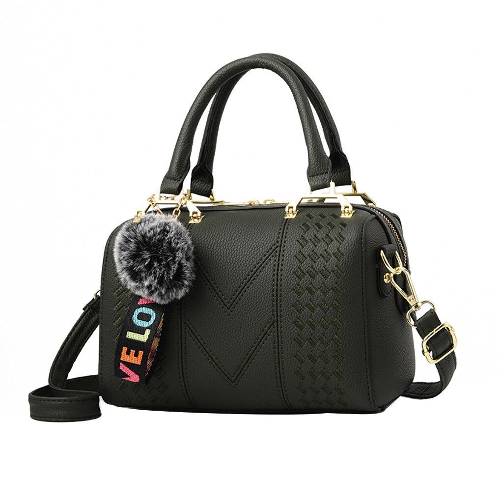 Women Embroidered Fashion Handbag Ladies PU Leather Pillow Bag Large Capacity Female Plush Ball Shoulder Messenger Bag Mom Tote
