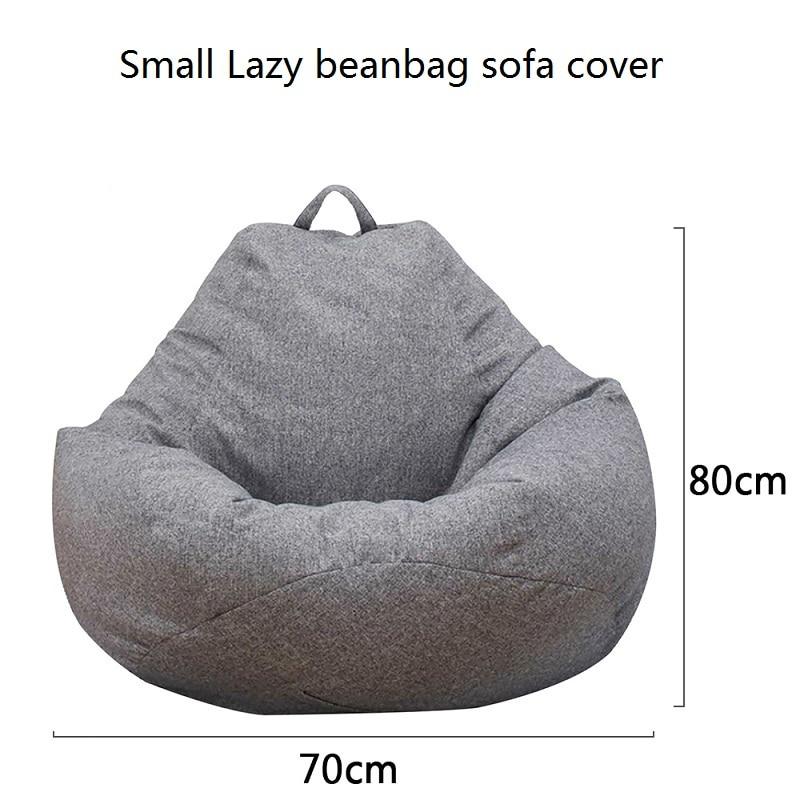 Small Lazy Bean Bag Sofa Cover 70*80cm No Padding Linen  Chair Bean Bag Sofa Tatami Living Room  Sitting Room Furniture
