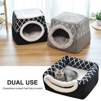 Pet bed for Cats Dogs Soft Nest Kennel Bed Cave House Sleeping Bag Mat Pad Tent Pets Winter Warm Cozy Beds 2 Size L XL 2 Colors image