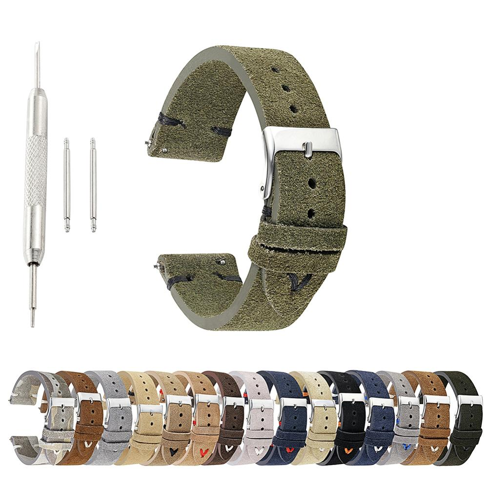 Trendy Handmade Retro Suede Leather Watch Band Strap Green Wrist Belt Watchbands 18mm 20mm 22mm New Hot For Man Women