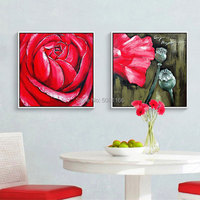 hand painted red rose oil painting yellow flower canvas wall art picture home decorative paintings for bedroom decoration
