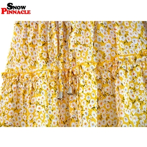 Image 5 - women skirts 2019 floral printed A line mini skirts Cotton Ruffles pleated girls skirts beach holidays casual skirts S XXL