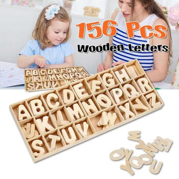 156pcs Each 6pcs Wooden Letter Alphabet Scrabble Toys Letters Craft Educational Toy For Children Kids Early Learning Gift