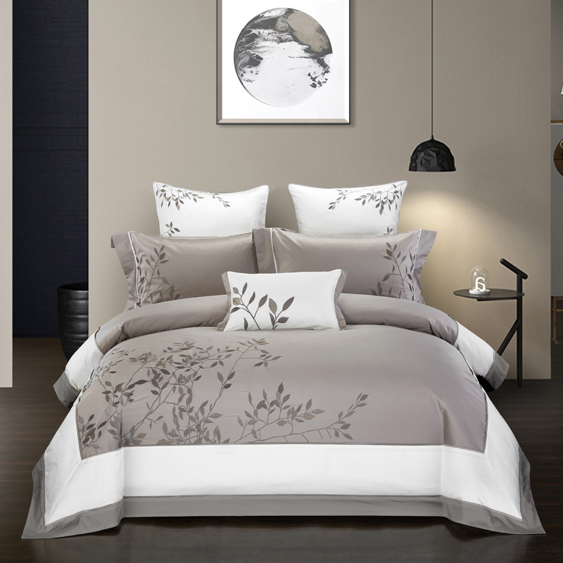 Embroidery Chinoiserie Style Duvet Quilt Cover Grey Leaves Comforter Cover Queen King 4Pcs Bedding Set Bed Sheets Fitted Sheet