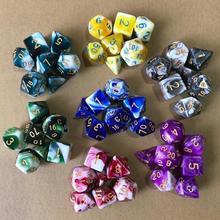 7 шт./лот полимерные забавные цифровые наборы игральных костей DND, ролевые настольные игры, D4, D6, D8, D10, D %, D12, D20, многогранные игральные кости