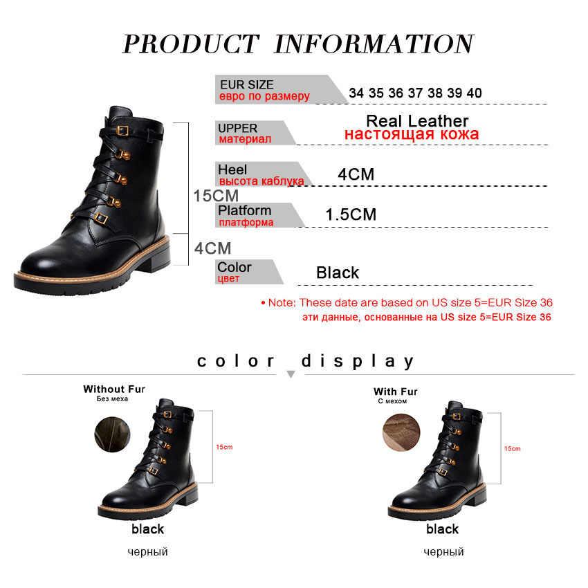 Taoffen kadınlar gerçek deri siyah kış yarım çizmeler fermuar çapraz kayış moda motosiklet çizme rahat ayakkabılar kadın boyutu 34-40