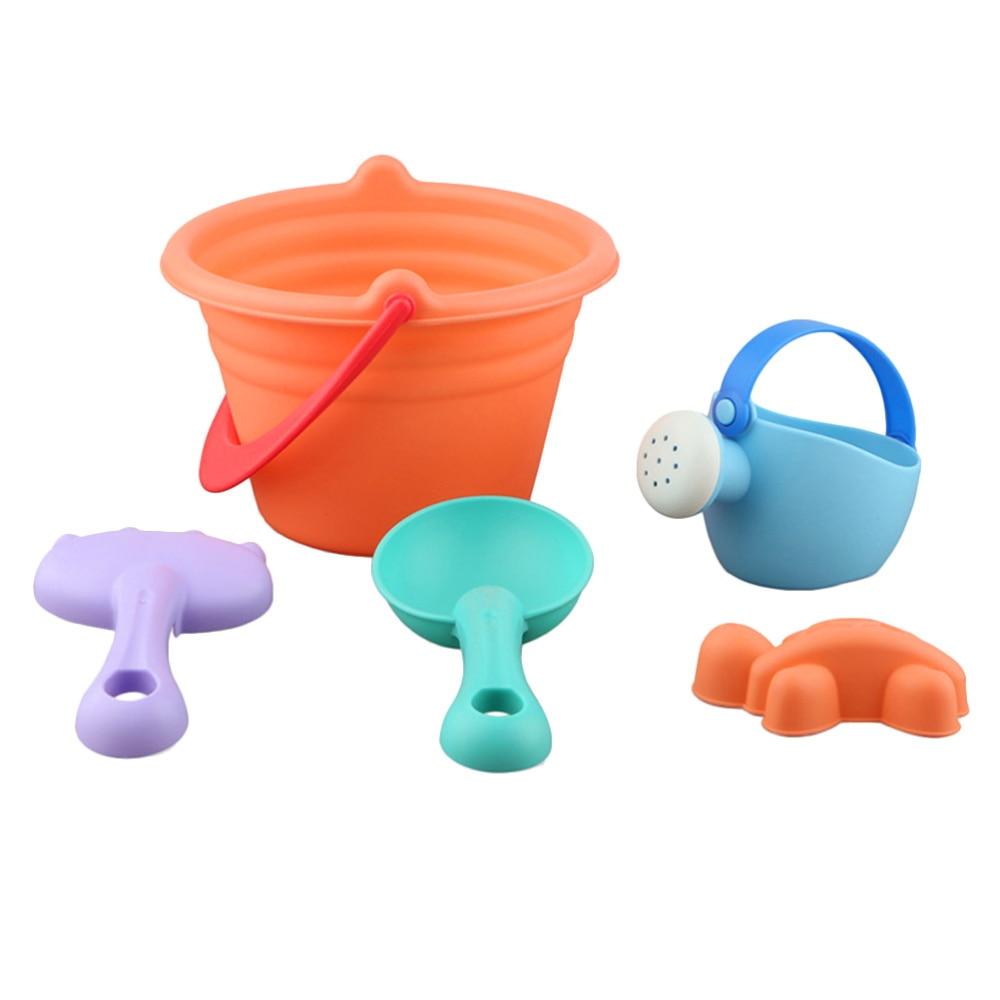 1 Set 5pcs Kids Beach Toys PVC Seaside Toy Set Portable Sand Dredging Toys Funny Children Playthings (Random Color)