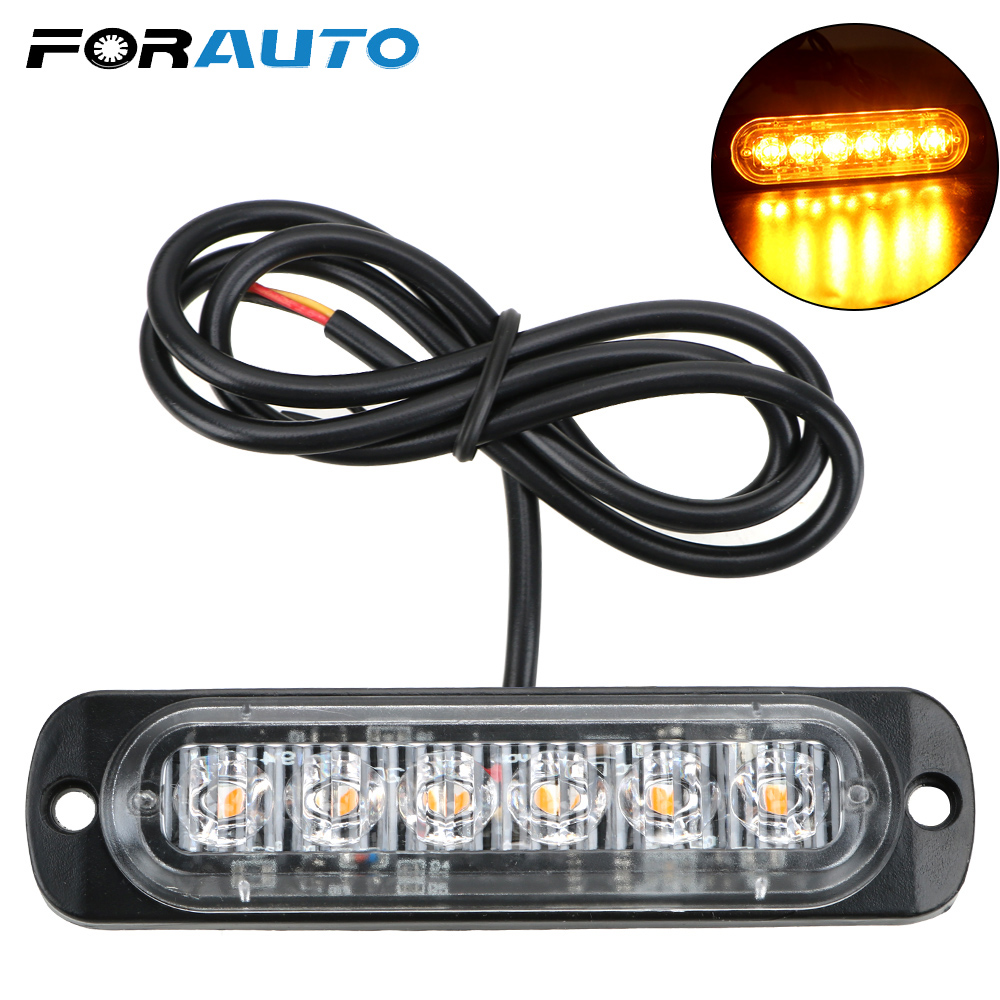 FORAUTO Off Road SUV Auto Car Boat Truck 12-24V Warning Light 18W Universal Strobe Lamp 6 LED Signal Light Ultra-Thin image