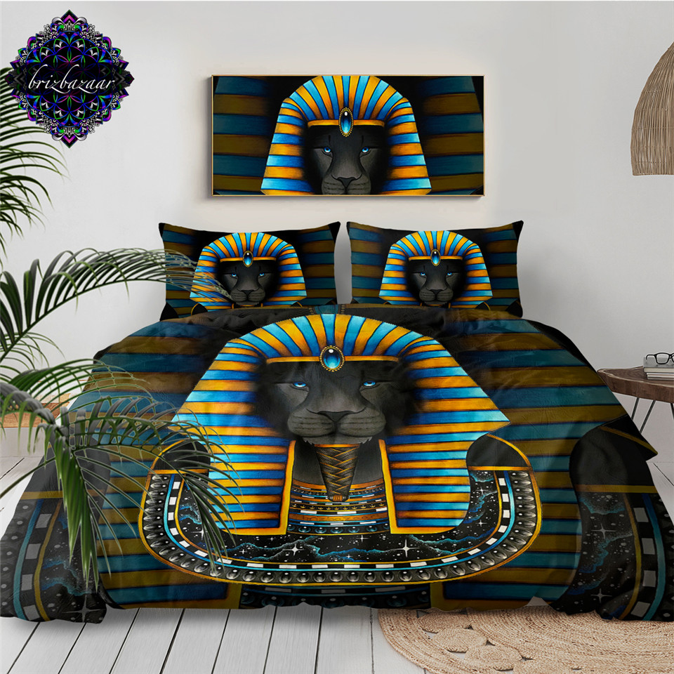 KING by Brizbazaar Bedding Set Ancient Egpyt Pharaoh Sphinx Duvet Cover Blue Yellow Striped Bed Set Lion Mysterious Bedclothes