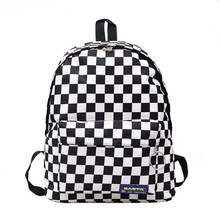 LISM 2019 explosion black and white plaid backpack casual nylon outdoor travel bag female bag student bag backpack