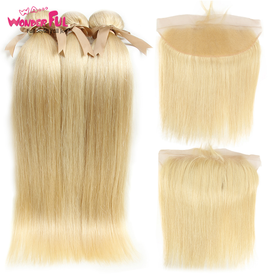 613 Bundles With Frontal Peruvian Straight Hair Blonde Bundles With Closure  Remy Human Hair 3 Bundles With Frontal