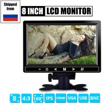 цена на 4:3 8 inch TFT LCD Color Video CCTV Mini Monitor HDMI VGA BNC AV Input for PC/CCTV Security System Tester  Stand Rotating Screen