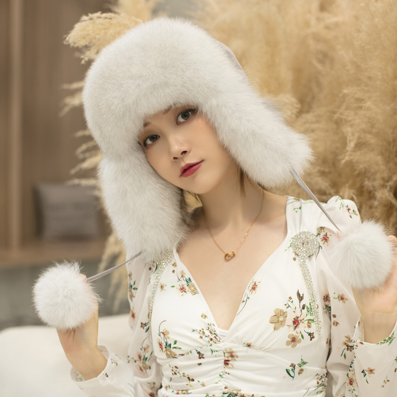 Natural real fox fur Lei Feng hat autumn and winter ear protection hat versatile lovely thickening warm female bomber hat