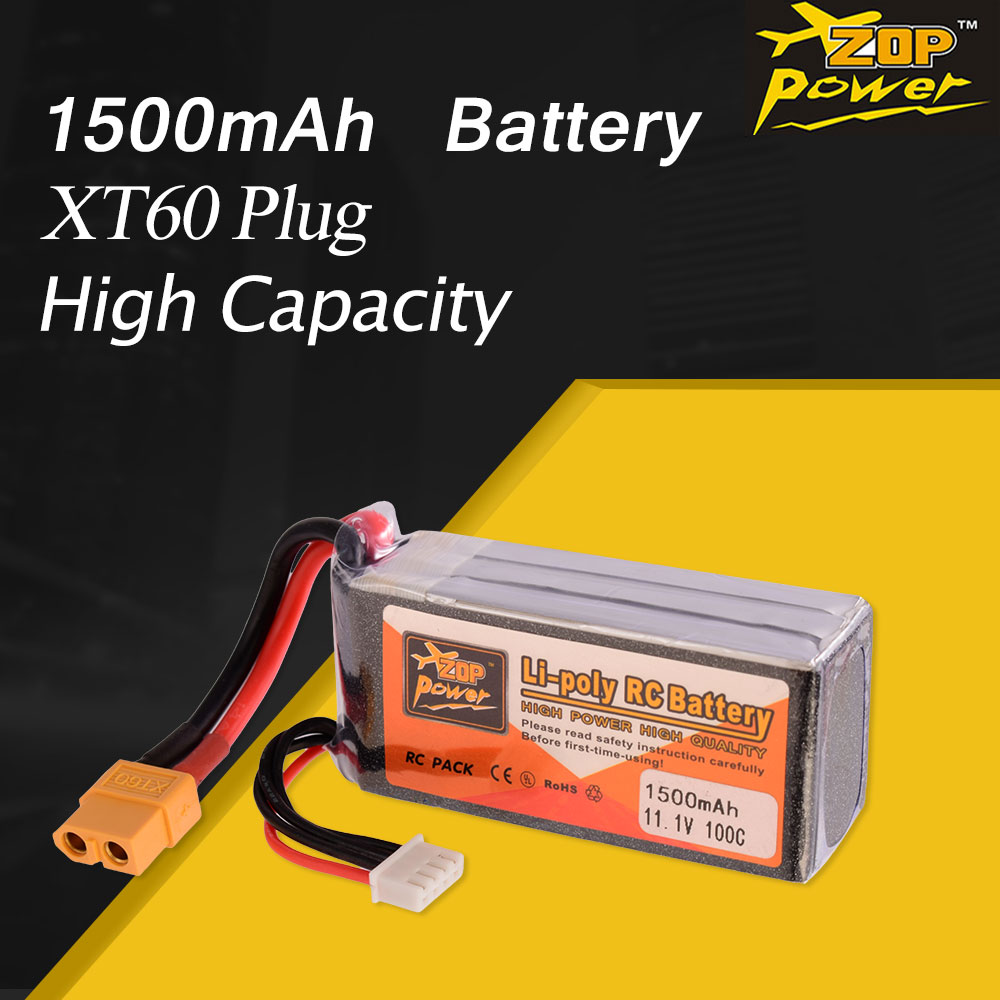 ZOP Power 7.4V 11.1V 14.8V 18.5V <font><b>1500mAh</b></font> 100C 2S <font><b>3S</b></font> 4S 5S Lipo Battery XT60 Plug Rechargeable For RC Drone quadcopter image