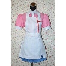 Anime Danganronpa Cosplay kostüm Mikan Tsumiki Cosplay kostüm kadın üniforma hizmetçi kıyafeti önlük elbise