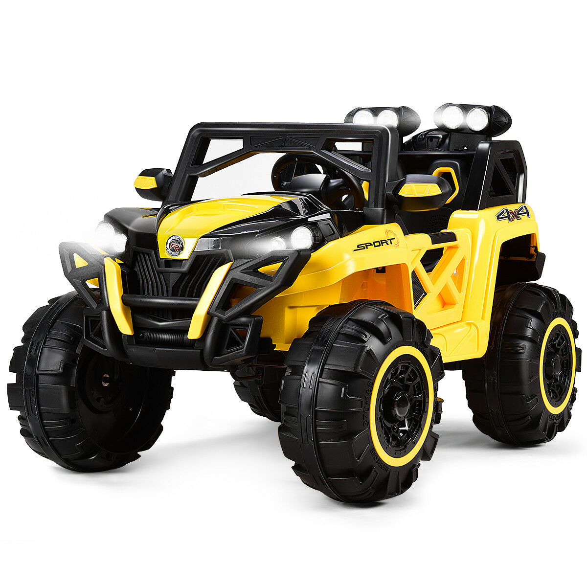 12V Electric Kids Ride On Truck Racing Toy Car LED Light MP3 Boys& Girls Yellow